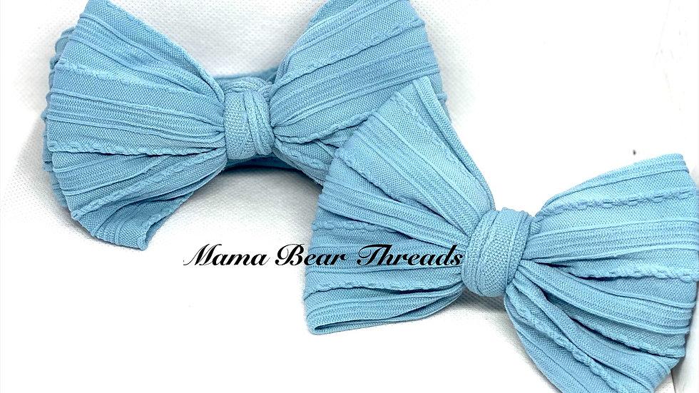 Blue Braided Nylon Knit Bow