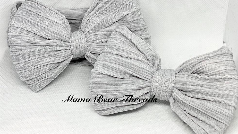 Grey Braided Nylon Knit Bow