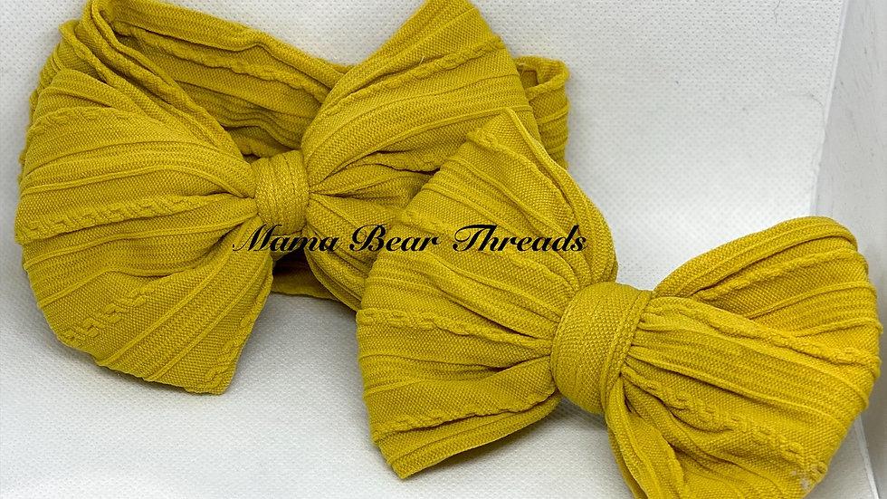 Mustard Braided Nylon Knit Bow