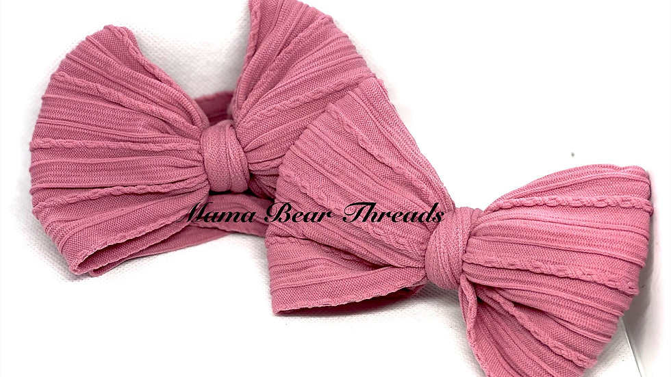Blush Braided Nylon Knit Bow