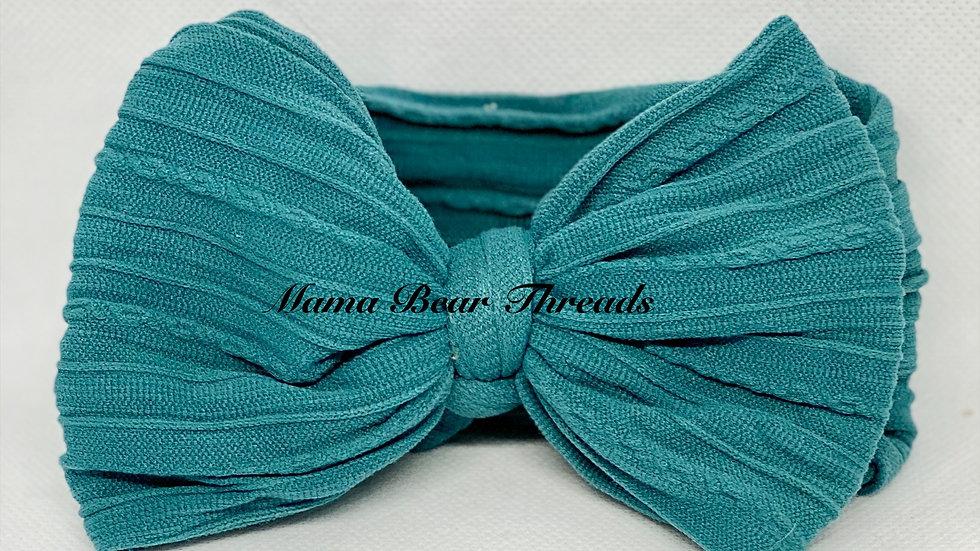 Turquoise Braided Nylon Knit Bow