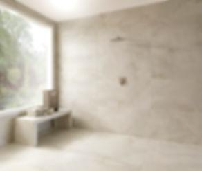 banheiro revestido com porcelanato