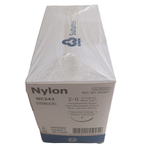 NYLON NC125 C 3/8 12 5-0 45 CM. (2 Doz./Box) ไหมเย็บแผล