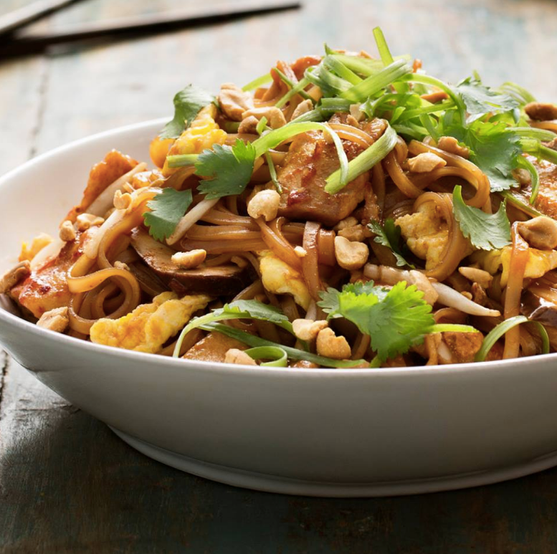 Food styling, Pei Wei, noodle bowl chicken peanut