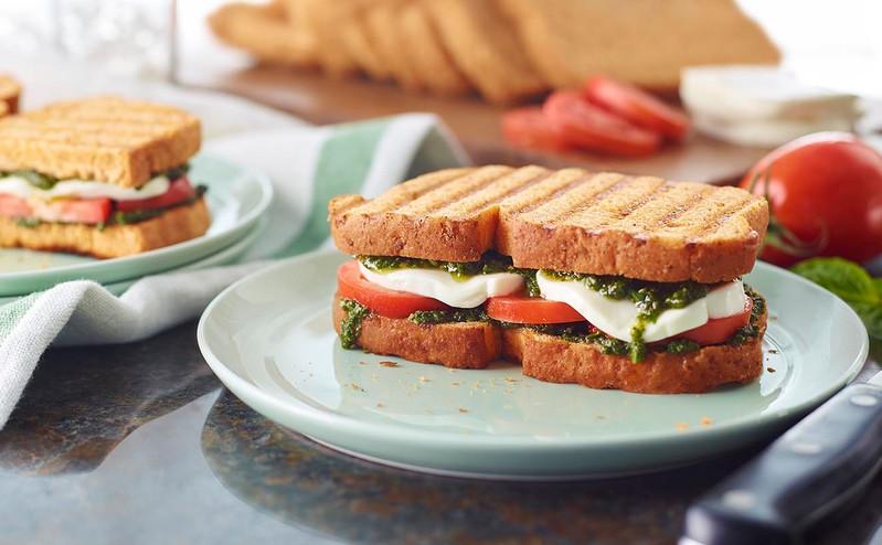 food styling, panera, panini, caprese, sandwich