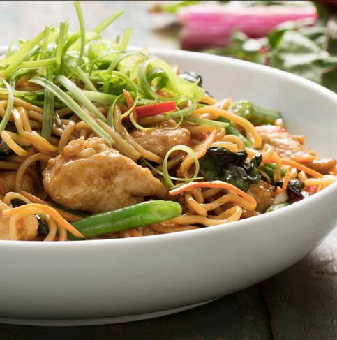 Food styling, Pei Wei, noodle bowl, chicken, swiss chard