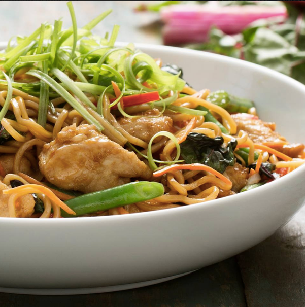 Food styling, Pei Wei, noodle bowl, chicken, swiss chard