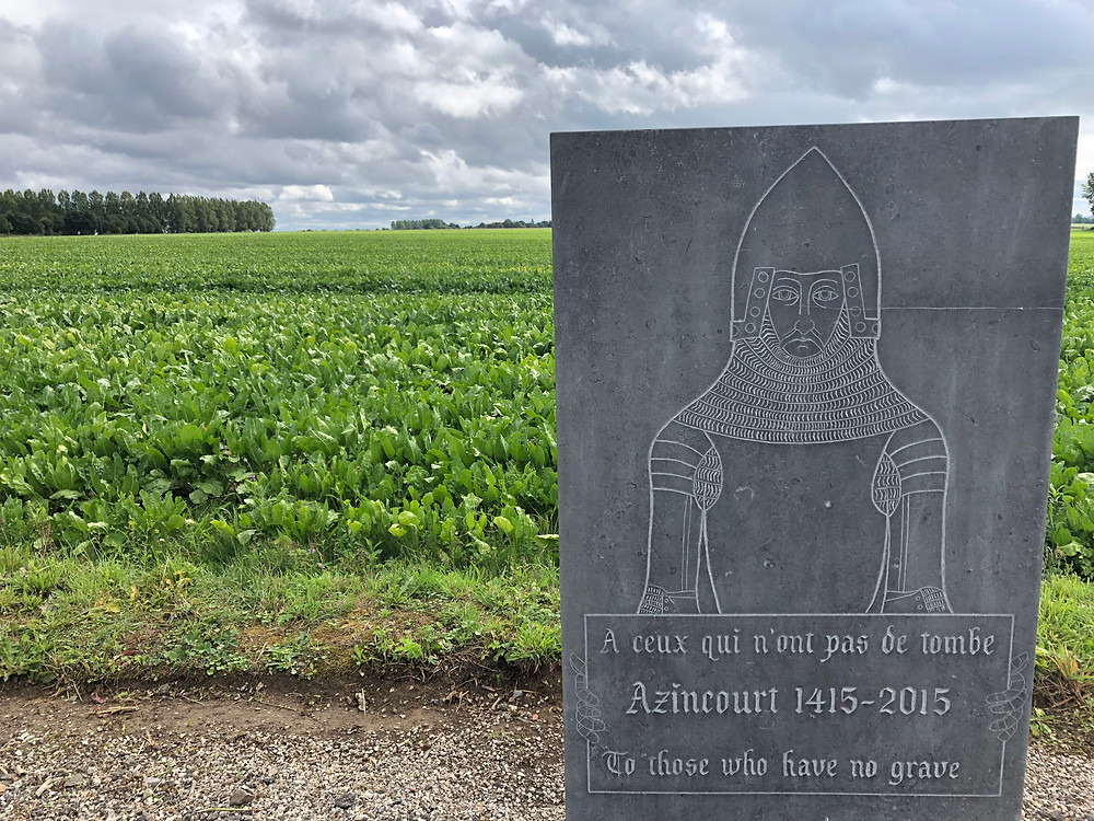 The unknown soldier memorial and the field of the battle of Agincourt. Photo by Ellen Gigliotti for Twotogo.