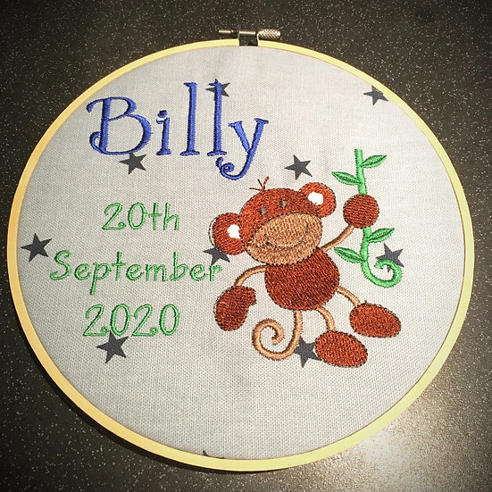 Personalised baby name hooped hanging decoration for nursery