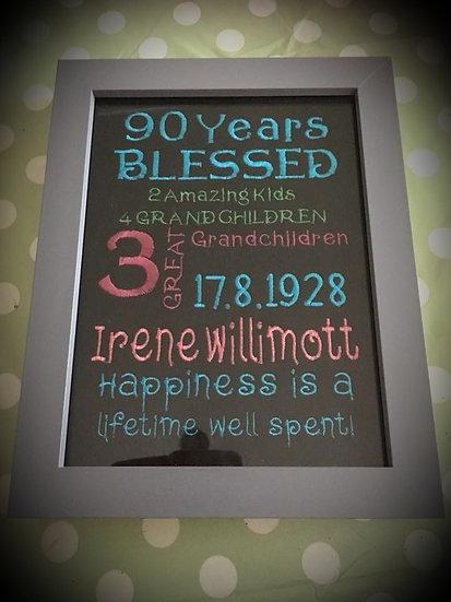 Personalised embroidered panel milestone birthday