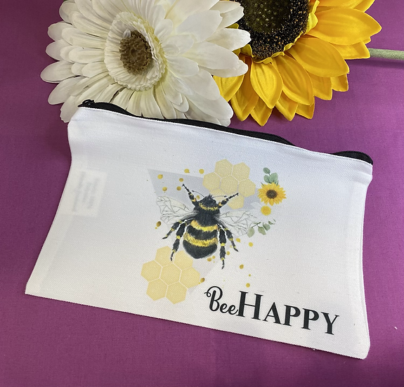 Bee  happy Make up bag/zipped pouch