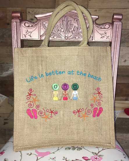 Life is better at the beach jute bag