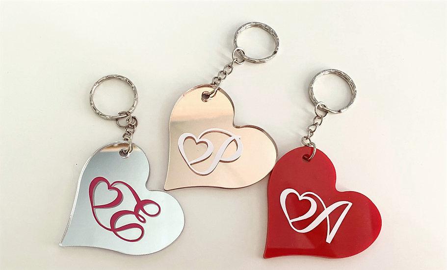 Personalised initial love heart keyring