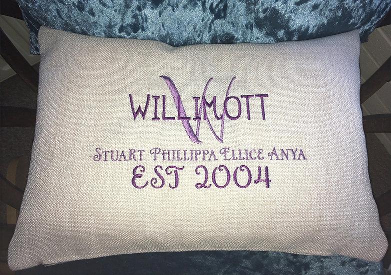 Family surname cushion