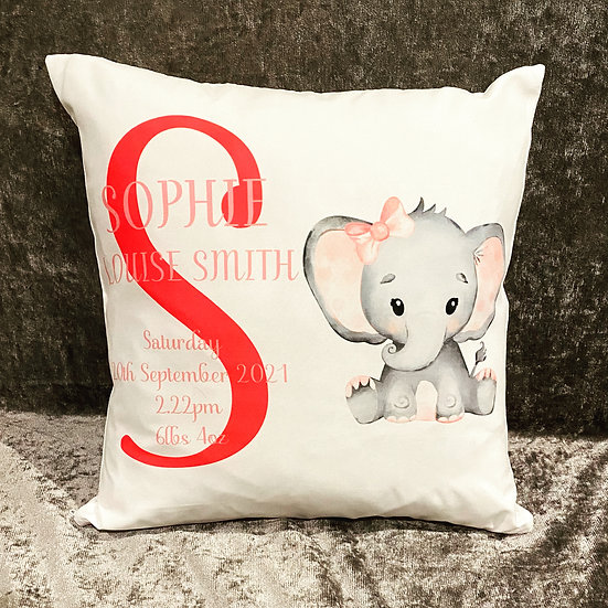 Personalised new baby cushion with birth details