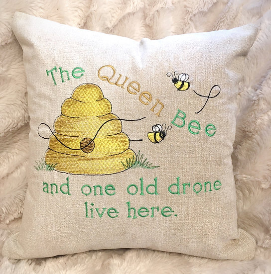Queen bee and one old drone cushion