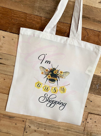 Im busy shopping bee  tote bag
