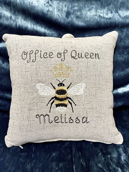 Personalised cushion office of queen *name*