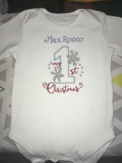 Personalised baby vest 1st Christmas