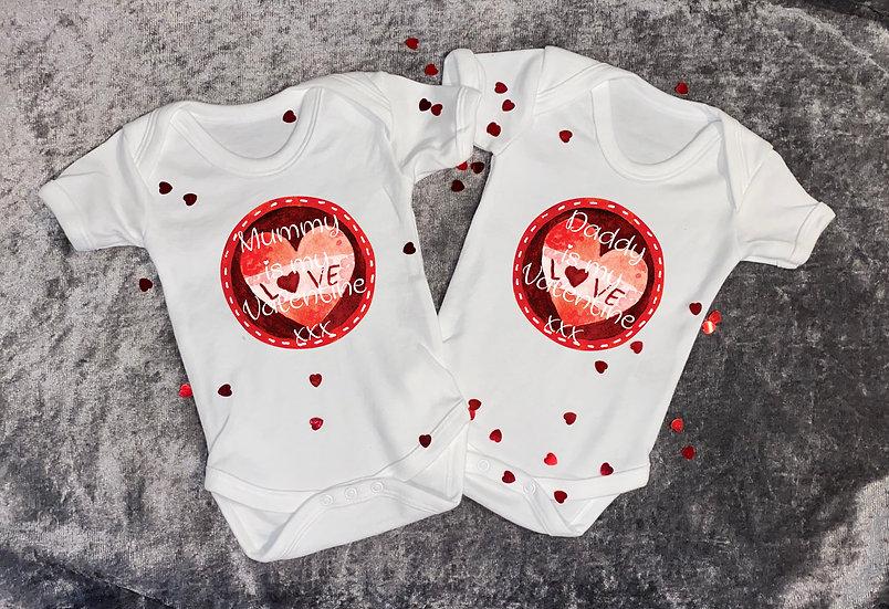 baby's first valentine vest mummy's/daddy/ is my valentine