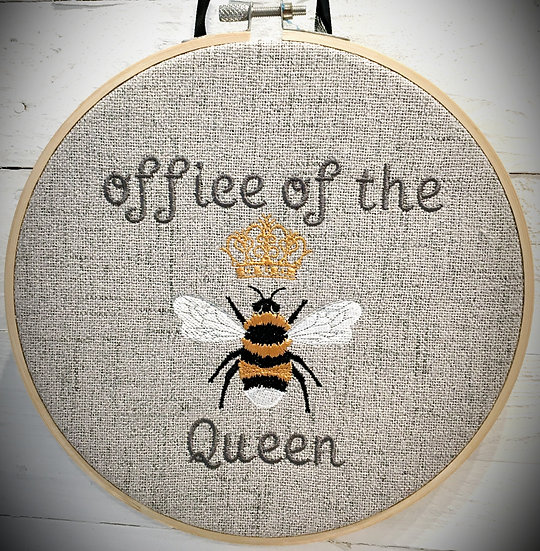 Office of the Queen Bee hooped wall hanging