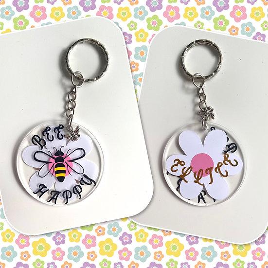 Personalised Bee happy keyring 🐝