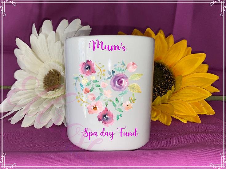 Mum's spa day fund money box