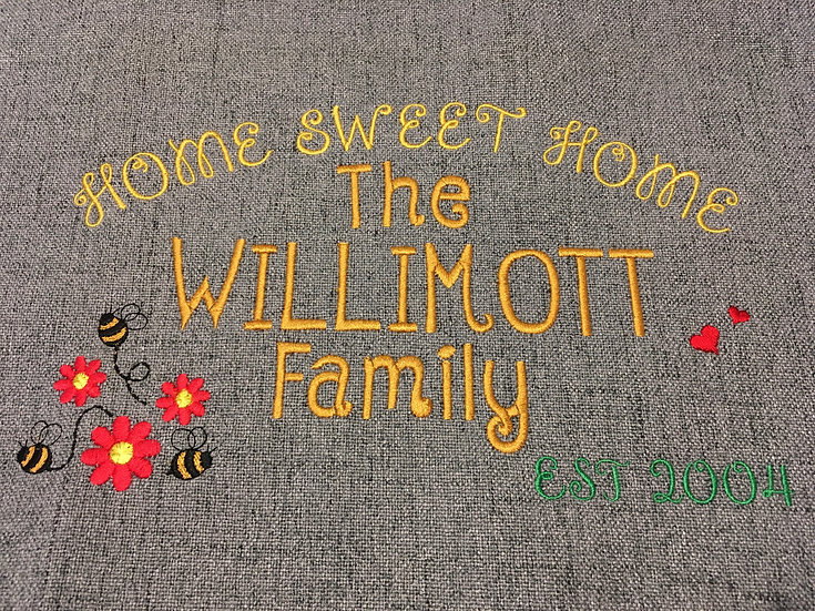 Personalised Home sweet home embroidered panel