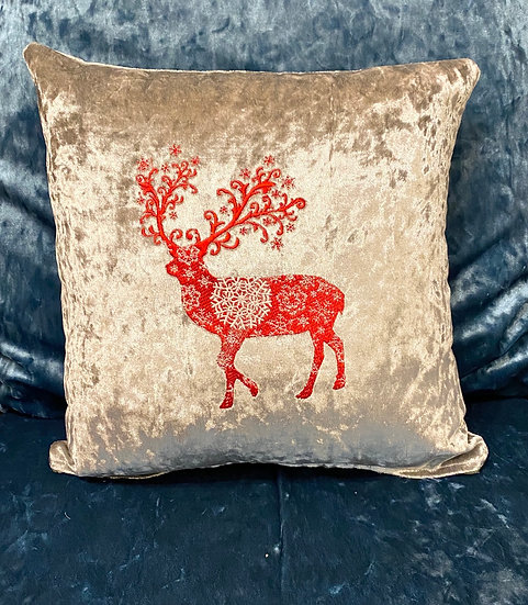 Silver Christmas reindeer cushion