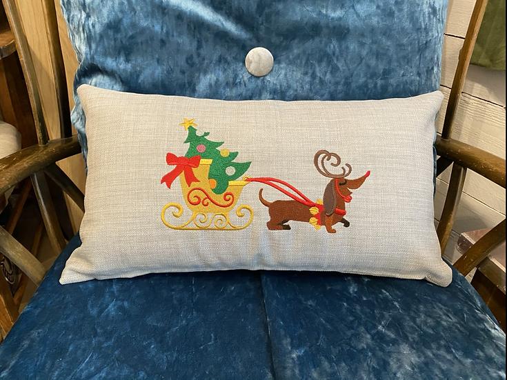 Christmas cushion dachshund pulling sleigh