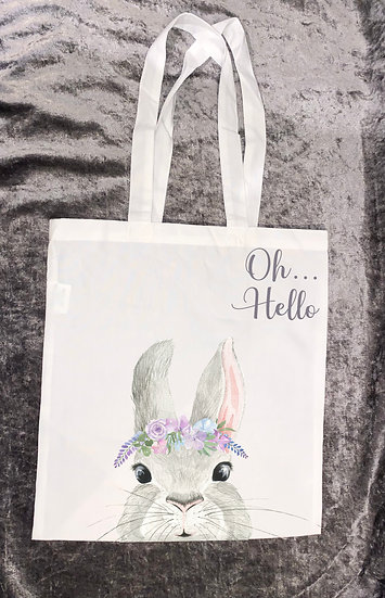 oh...hello rabbit tote bag - mothers day/birthday/easter gift