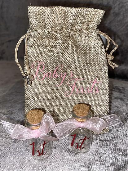 Baby's firsts milestone keepsake bottles and bag