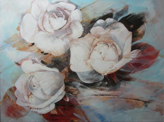 Trio van witte rozen