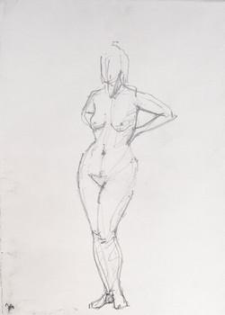Standing nude, hands on hips, 2014