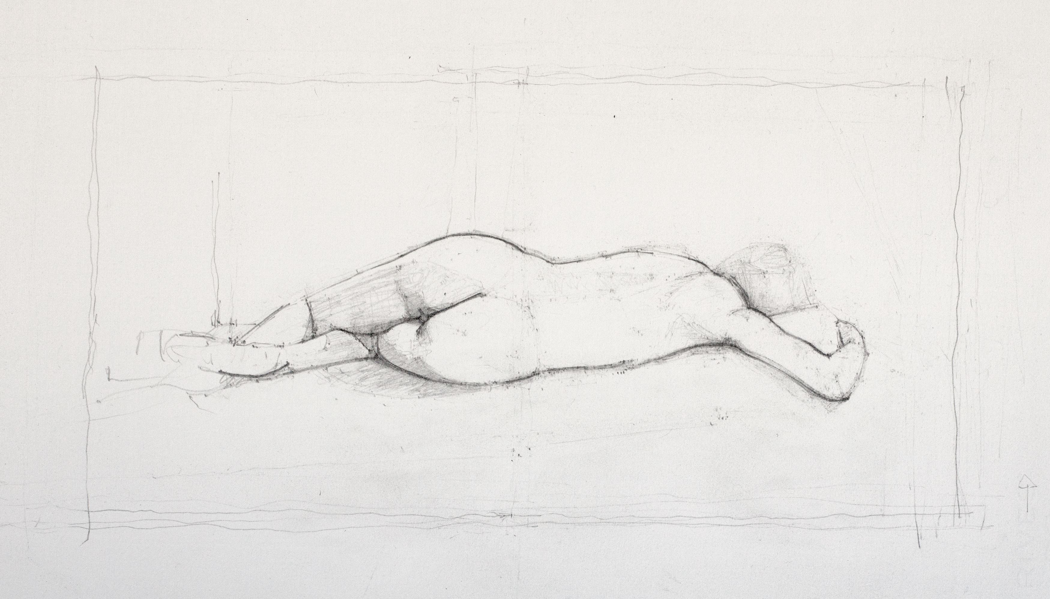 Reclining nude, V shape arm, 2012