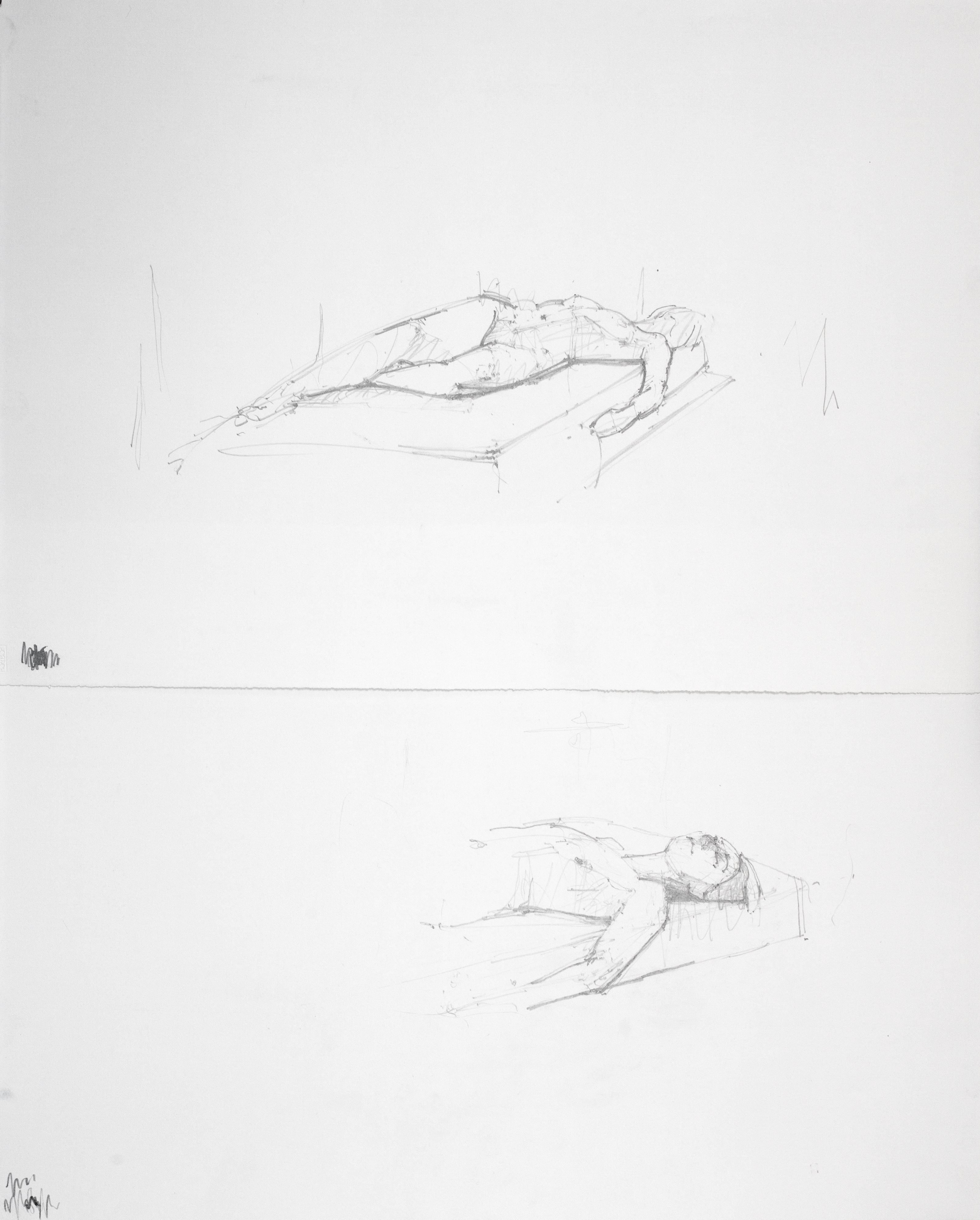 Reclining nude, Head study (diptych)