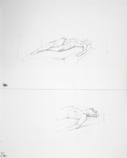 Reclining nude, Head study (diptych)