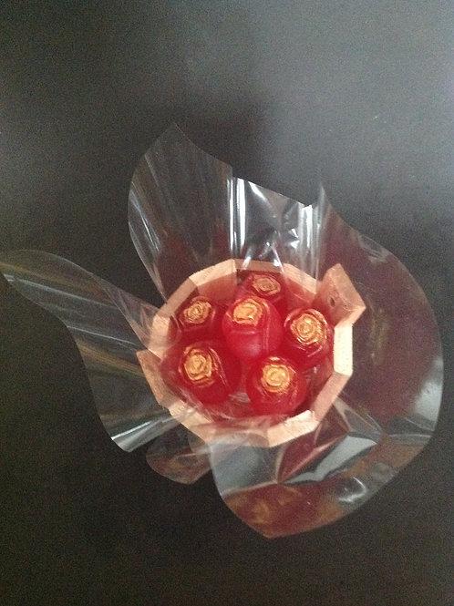 Mini Balde com 6 Botões de Rosas