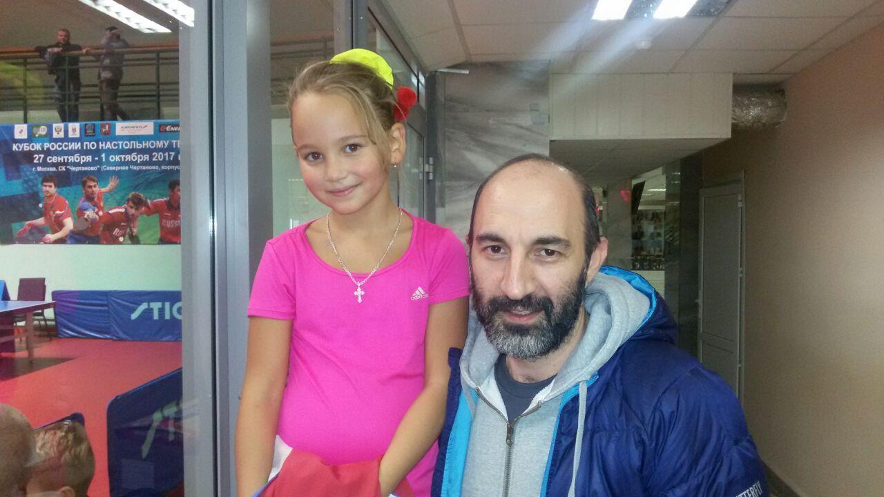 Нелли Кряжева и  старший тренер женской сборной России по настольному теннису Саркисян Д.Ф