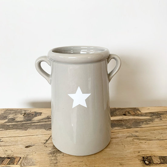 Grey Ceramic Star Vase