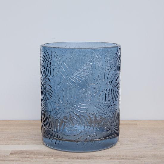 Blue Leaf Embossed Glass Pot