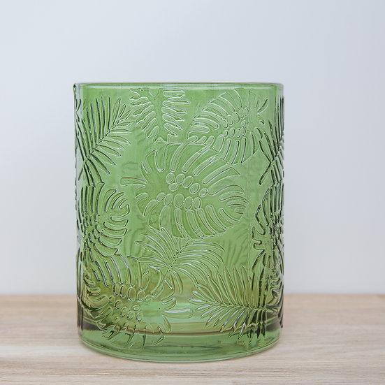 Green Leaf Embossed Glass Pot
