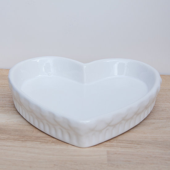 White Ceramic Heart Design Plate