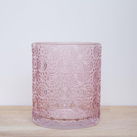 Pink Circle Embossed Glass Pot