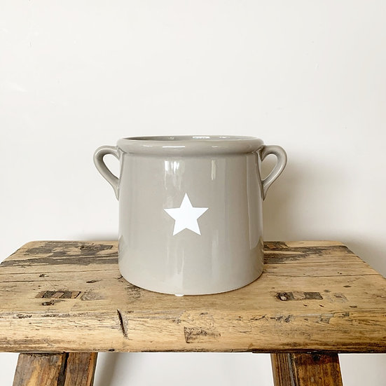 Ceramic Grey Star Pot (Large)