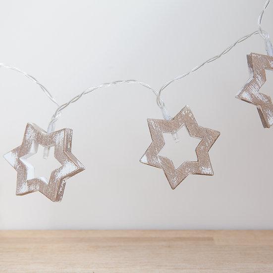 Wooden Star LED Light Garland