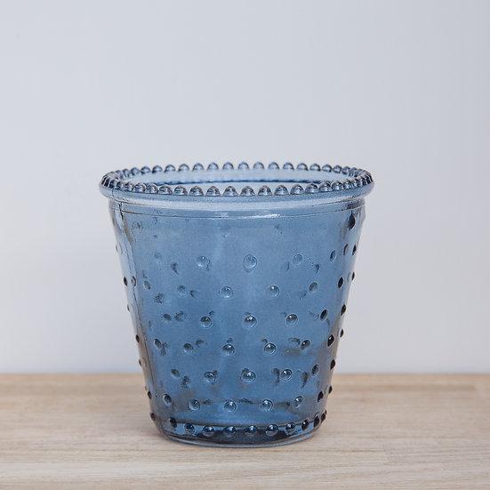 Blue Dimple Glass Tealight Holder