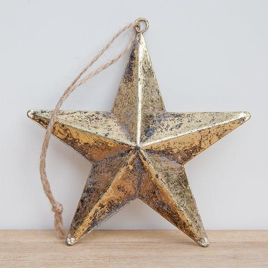 Hanging Antique Gold Metal Star Decoration