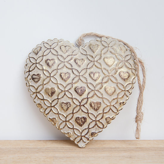 Hanging Antique Gold Metal Heart Decoration