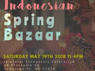 ICC will host Indonesian Spring Bazaar on May 19, at Idlehurst Elementary School, Somersworth